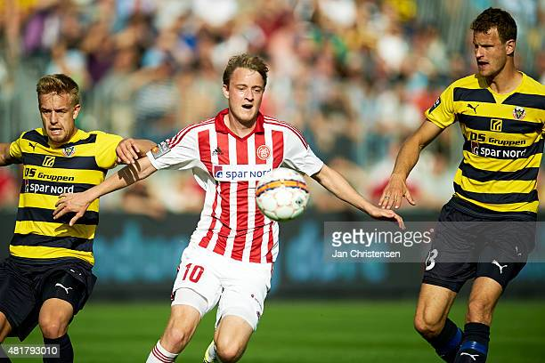 Rasmus Jonsson of AaB Aalborg in action during the Danish Alka Superliga match between Hobro IK and AaB Aalborg at DS Arena on July 24 2015 in Hobro...