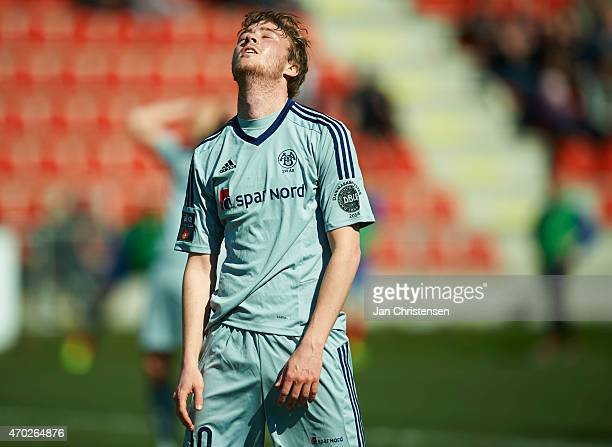 Rasmus Jonsson of AaB Aalborg looks dejected during the Danish Alka Superliga match between FC Vestsjalland and AaB Aalborg at Harboe Arena Slagelse...