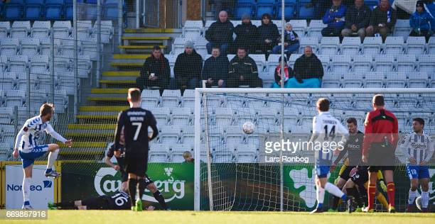 Rasmus Jonsson of OB Odense scores the 10 goal during the Danish Alka Superliga match between OB Odense and Randers FC at EWII Park on April 18 2017...