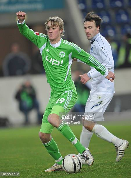 Rasmus Jonsson of Wolfsburg in action during a friendly match between 1 FC Magdeburg and VfL Wolfsburg at the MDCC Arena on January 18 2012 in...