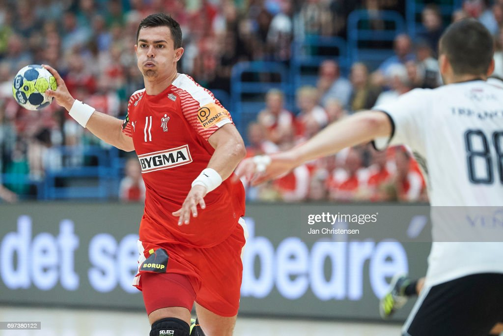 Rasmus Lauge of Denmark in action during the European Championship Croatia 2018 Playoff match between Denmark and Latvia at Sydbank Arena on June 18, 2017 in Kolding, Denmark.