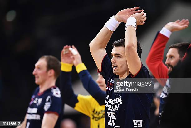 Rasmus Lauge of Flensburg celebrates during the DKB handball Bundeliga match between SG Flensburg Handewitt and TuS NLuebbecke at FlensArena on April...