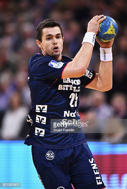 Rasmus Lauge of Flensburg in action during the DKB handball Bundeliga match between SG Flensburg Handewitt and TuS NLuebbecke at FlensArena on April...
