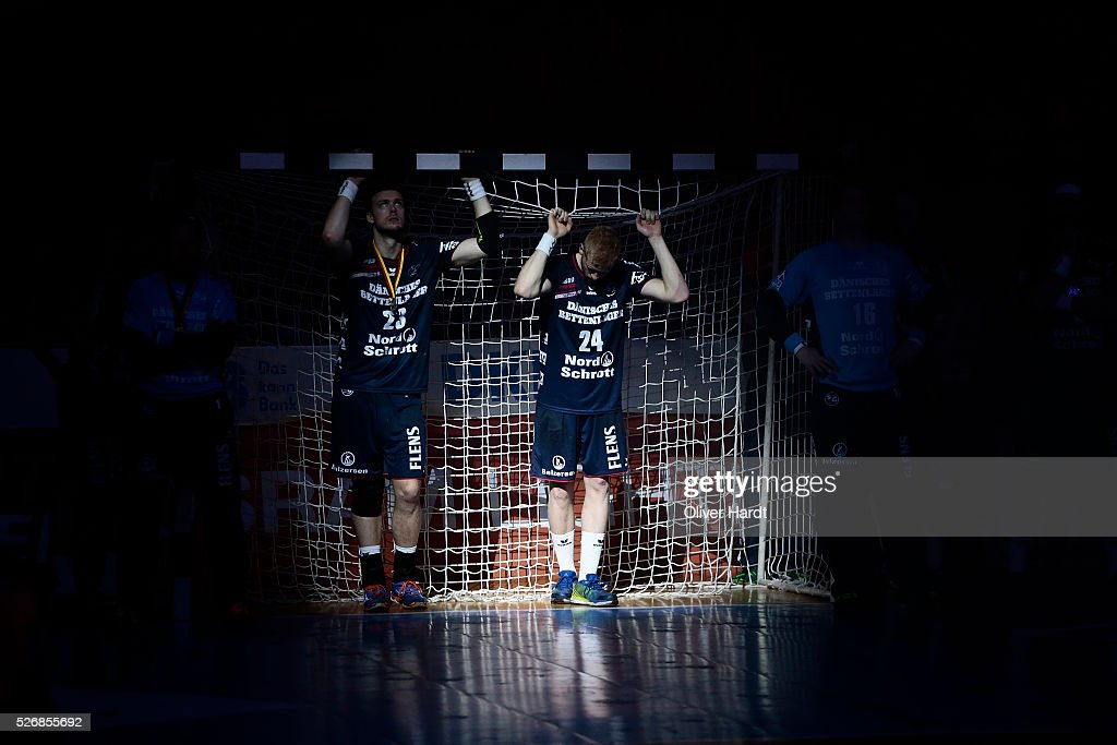 Rasmus Lauge Schmidt and Jim Gottfridsson of Flensburg appears frustrated after the DKB REWE Final Four Finale 2016 between SG Flensburg Handewitt and SC Magdeburg at Barclaycard Arena on May 1, 2016 in Hamburg, Germany.