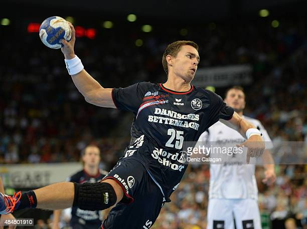 Rasmus Lauge Schmidt of FlensburgHandewitt in action during the Pixum Super Cup between THW Kiel and SG Flensburg Handewitt at PorscheArena on August...