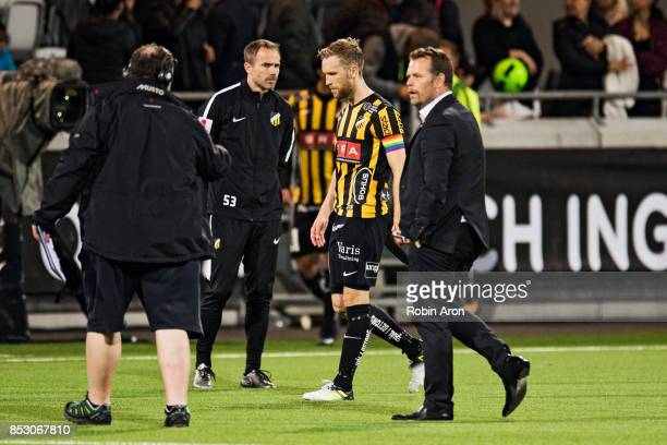 Rasmus Lindgren and Mikael Stahre head coach of BK Hacken dejected after their team's defeat in the Allsvenskan match between BK Hacken and AIK at...
