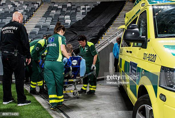 Rasmus Lindgren of BK Hacken gets injured and had to leave with ambulance during the Allsvenskan match between Hammarby IF and BK Hacken at Tele2...