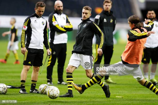 Rasmus Lindkvist of AIK during warmup ahead of the Allsvenskan match between AIK and Jonkopings Sodra IF at Friends Arena on October 15 2017 in Solna...