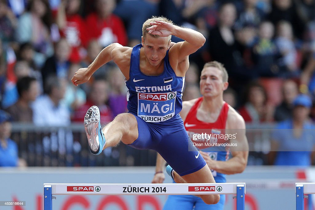 Rasmus Magi of Estonia competes in the Men's 400 metres hurdles heats during day one of the 22nd European Athletics Championships at Stadium Letzigrund on August 12, 2014 in Zurich, Switzerland.