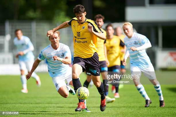 Rasmus Minor Petersen of Hobro IK controls the ball during the Danish Alka Superliga match between Hobro IK and FC Helsingor at DS Arena on July 16...