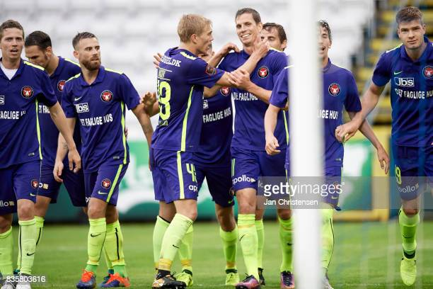 Rasmus Nissen of FC Midtjylland and Jonas Borring of FC Midtjylland celebrate after the 01 goal from Alexander Sorloth during the Danish Alka...