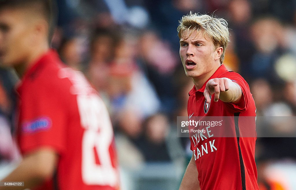 Rasmus Nissen of FC Midtjylland $gives instructions during the Europa League Qualifier match between FC Midtjylland and FK Suduva at MCH Arena on June 30, 2016 in Herning, Denmark.