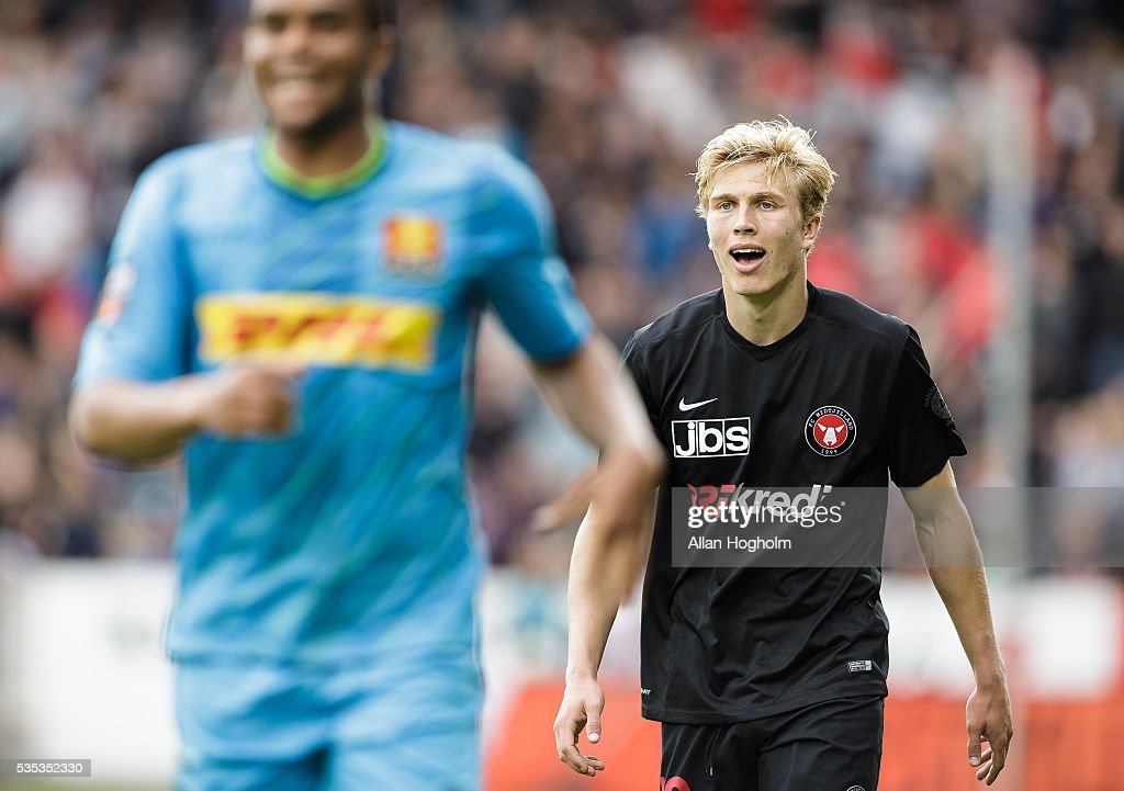 Rasmus Nissen of FC Midtjylland in action during the Danish Alka Superliga match between FC Midtjylland and FC Nordsjalland at MCH Arena on May 29, 2016 in Herning, Denmark.