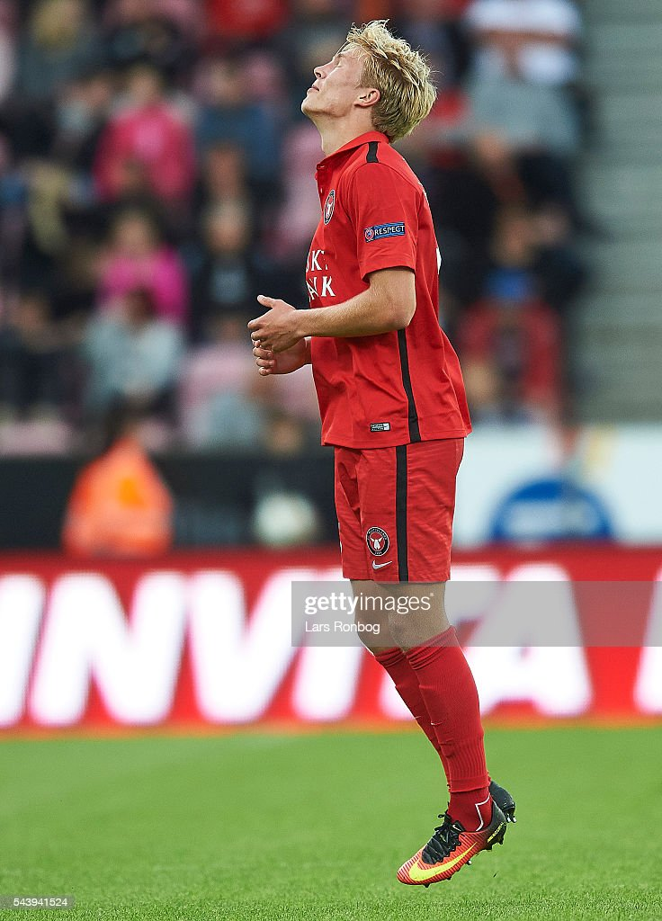 Rasmus Nissen of FC Midtjylland shows frustration during the Europa League Qualifier match between FC Midtjylland and FK Suduva at MCH Arena on June 30, 2016 in Herning, Denmark.