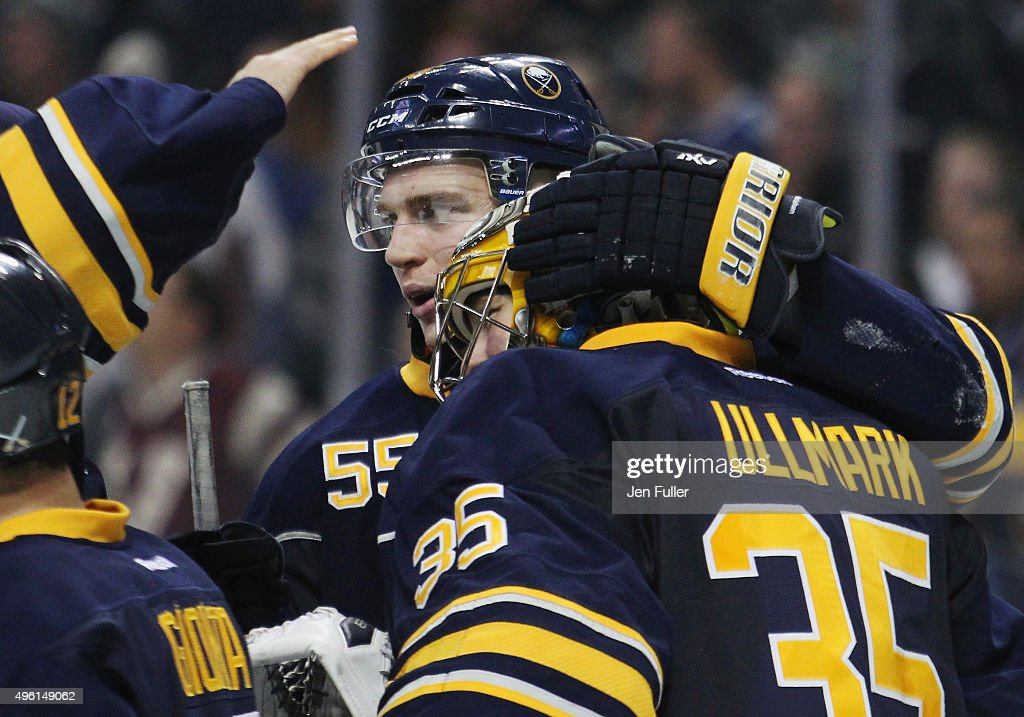 925bd3696 ... Jersey Rasmus Ristolainen 55 and Linus Ullmark 35 of the Buffalo Sabres  celebrate their ...