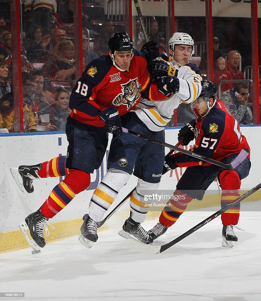 Rasmus Ristolainen #55 of the Buffalo Sabres and Shawn Matthias #18 of the Florida Panthers come together behind the net during first period action at the BB&T Center on October 25, 2013 in Sunrise, Florida.
