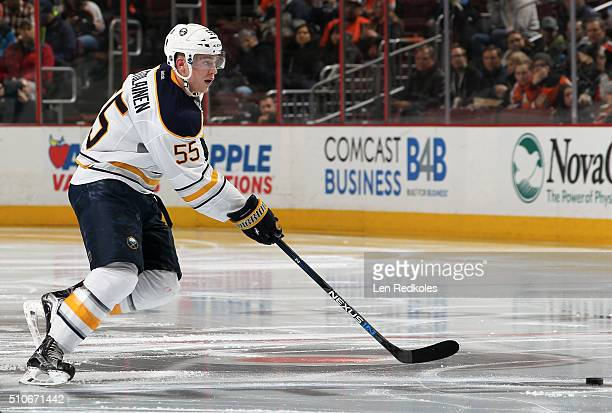 Rasmus Ristolainen of the Buffalo Sabres passes the puck against the Philadelphia Flyers on February 11 2016 at the Wells Fargo Center in...
