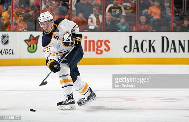 Rasmus Ristolainen of the Buffalo Sabres shoots the puck against the Philadelphia Flyers on October 27 2015 at the Wells Fargo Center in Philadelphia...