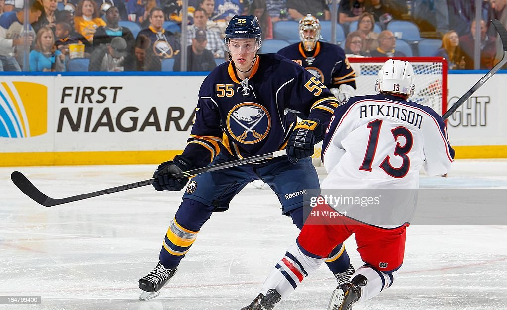 <a gi-track='captionPersonalityLinkClicked' href=/galleries/search?phrase=Rasmus+Ristolainen&family=editorial&specificpeople=8760930 ng-click='$event.stopPropagation()'>Rasmus Ristolainen</a> #55 of the Buffalo Sabres skates against the Columbus Blue Jackets on October 10, 2013 at the First Niagara Center in Buffalo, New York.
