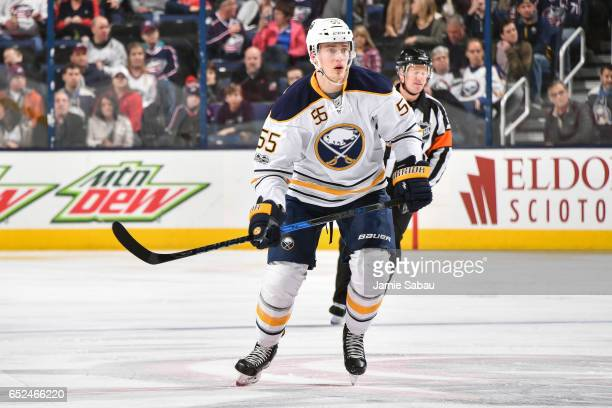 Rasmus Ristolainen of the Buffalo Sabres skates against the Columbus Blue Jackets on March 10 2017 at Nationwide Arena in Columbus Ohio