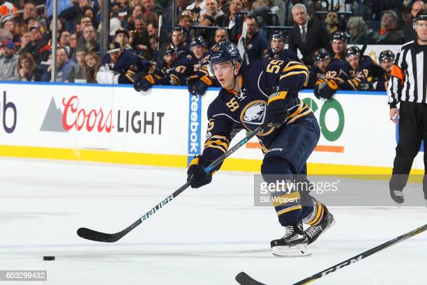Rasmus Ristolainen of the Buffalo Sabres skates against the Philadelphia Flyers during an NHL game at the KeyBank Center on March 7 2017 in Buffalo...