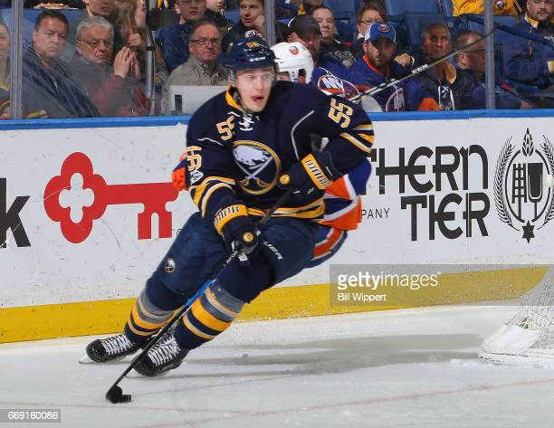 Rasmus Ristolainen of the Buffalo Sabres skates against the New York Islanders during an NHL game at the KeyBank Center on April 2 2017 in Buffalo...