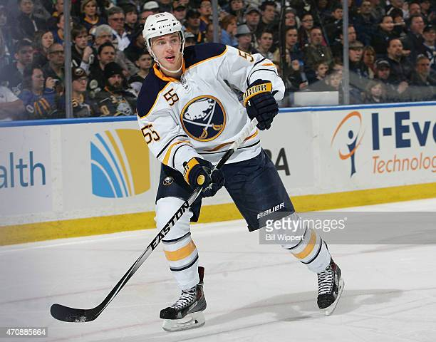 Rasmus Ristolainen of the Buffalo Sabres skates against the Pittsburgh Penguins on April 11 2015 at the First Niagara Center in Buffalo New York