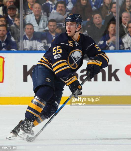 Rasmus Ristolainen of the Buffalo Sabres skates against the Toronto Maple Leafs during an NHL game at the KeyBank Center on April 3 2017 in Buffalo...