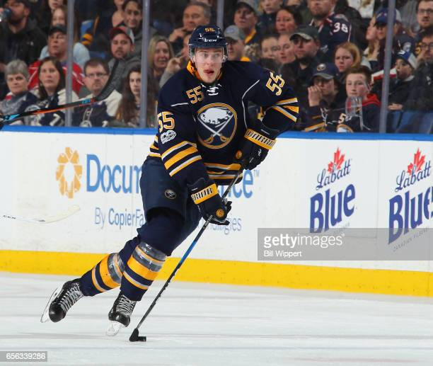 Rasmus Ristolainen of the Buffalo Sabres skates during an NHL game against the Columbus Blue Jackets at the KeyBank Center on March 11 2017 in...