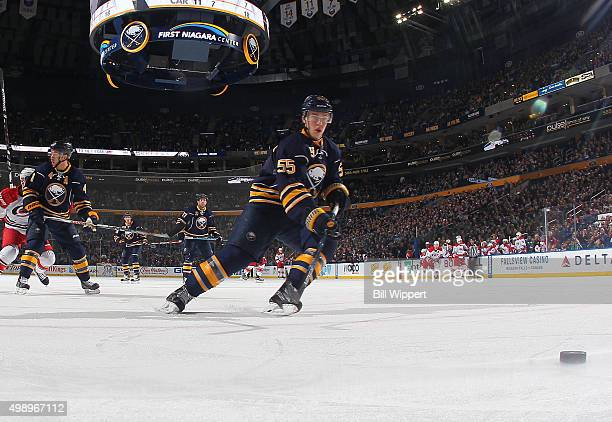 Rasmus Ristolainen of the Buffalo Sabres skates for the puck against the Carolina Hurricanes during an NHL game on November 27 2015 at the First...