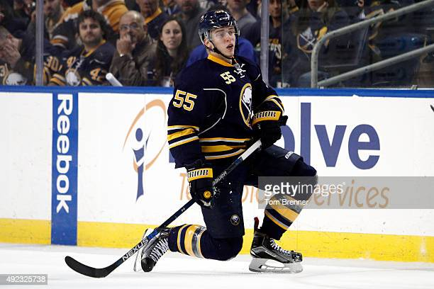 Rasmus Ristolainen of the Buffalo Sabres takes a knee during the game against the Ottawa Senators at the First Niagara Center on October 8 2015 in...