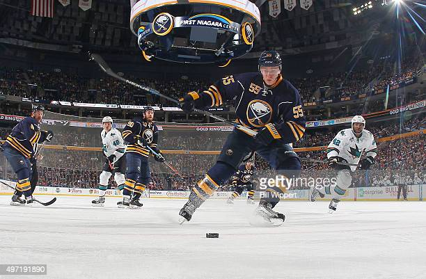Rasmus Ristolainen of the Buffalo Sabres winds up to clear the puck against the San Jose Sharks during an NHL game on November 14 2015 at the First...