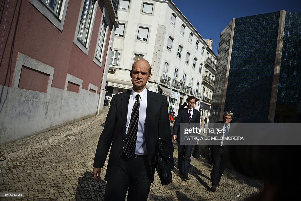 Rasmus Ruffer, head of the European Central Bank (ECB) delegation to Portugal arrives for a meeting with Jose Seguro, secretary general of the Socialist Party, at the Socialist Party headquarters, in Lisbon on March 1, 2013, as the so-called Troika of public creditors -- the European Union, the European Central Bank and the International Monetary Fund -- reviews the country's finances. Portugal was granted a financial rescue package worth 78 billion euros ($103 billion) in May 2011, in exchange for a pledge to straighten out its finances via austerity measures and economic reforms. AFP PHOTO / PATRICIA DE MELO MOREIRA