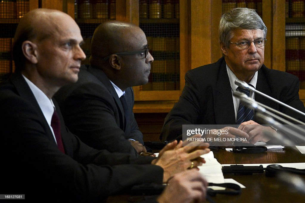 Rasmus Ruffer, head of the European Central Bank (ECB) delegationto Portugal, Abebe Selassie, International Monetary Fund (IMF) mission chief for Portugal and Jurgen Kroger, head of European Union (EU) delegationn (EU) attend a Commission for Monitoring Measures of Portugal's Financial Assistance at the Portuguese Parliament in Lisbon on March 5, 2013.