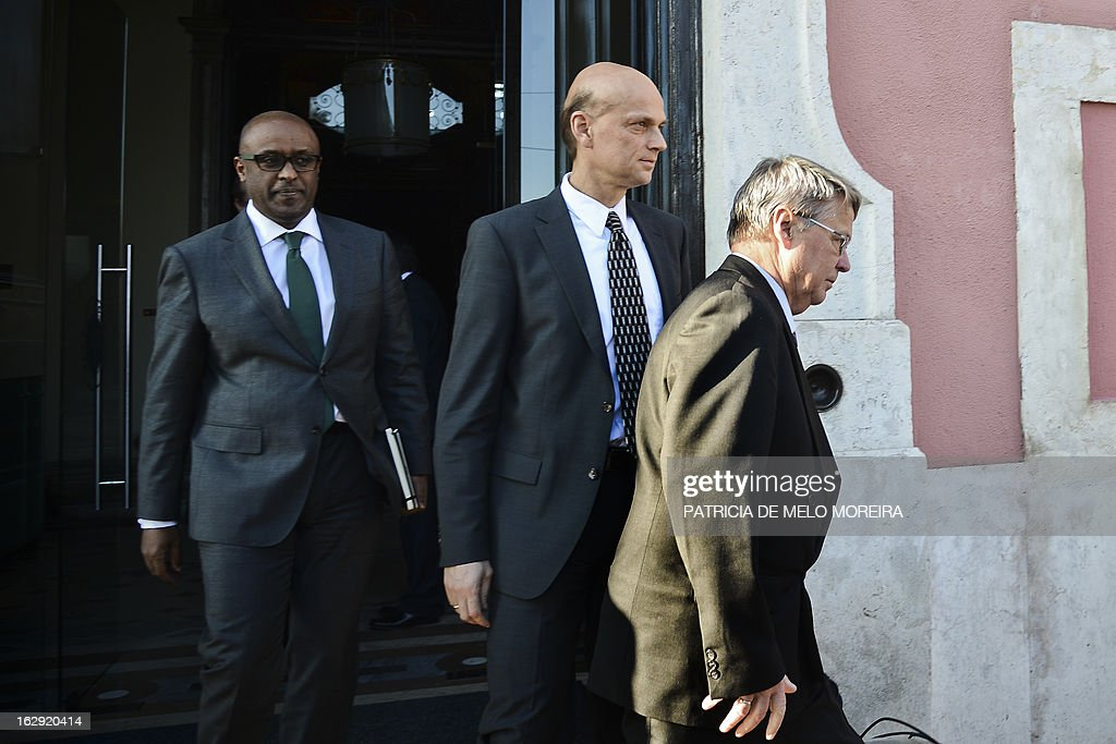 Rasmus Ruffer (C), the head of European Central Bank (ECB) delegation, Jurgen Kroger (R) head of a European Union (EU) delegation and International Monetary Fund (IMF) mission chief for Portugal, and Abebe Selassie the head of the International Monetary Fund (IMF) delegation Abebe Selassie (R) leave after a meeting with Jose Seguro, secretary general of the Socialist Party, at the Socialist Party headquarters, in Lisbon on March 1, 2013, as the so-called Troika of public creditors -- the European Union, the European Central Bank and the International Monetary Fund -- reviews the country's finances. Portugal was granted a financial rescue package worth 78 billion euros ($103 billion) in May 2011, in exchange for a pledge to straighten out its finances via austerity measures and economic reforms. AFP PHOTO / PATRICIA DE MELO MOREIRA