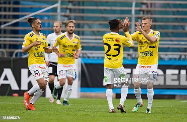 Rasmus Sj��stedt and Alexander Jakobsen of Falkenberg celebrates with Enock Kwakwa of Falkenberg after scoring his 12 goal during the Allsvenskan...
