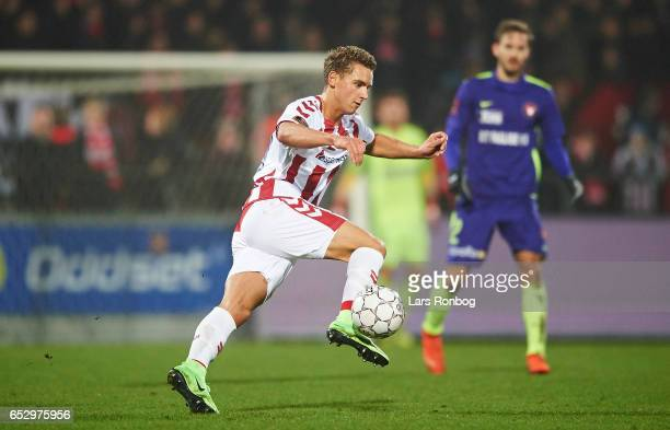 Rasmus Thellufsen of AaB Aalborg controls the ball during the Danish Alka Superliga match between AaB Aalborg and FC Midtjylland at Aalborg Portland...