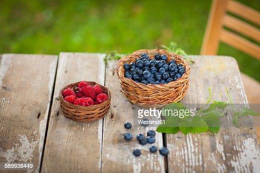 Raspberries and blueberries in baskets