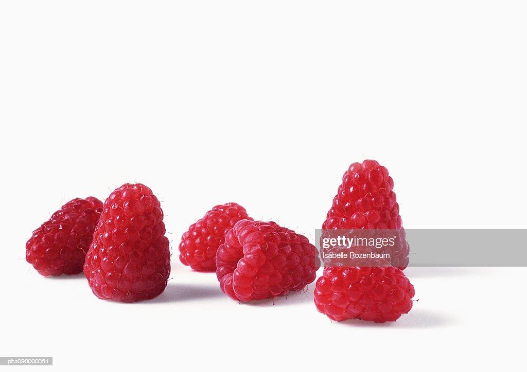 Raspberries, white background