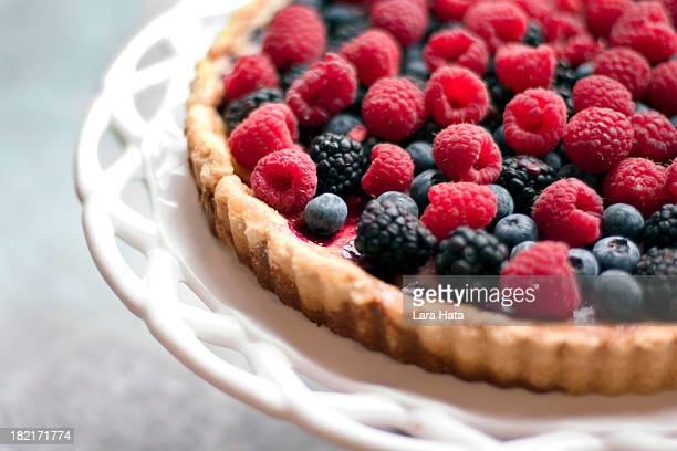 A raspberry and blackberry tart