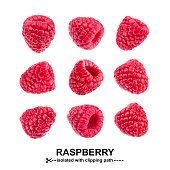 Raspberry collection. Raspberries isolated on white background with clipping path. View from different angles. Seamless Pattern
