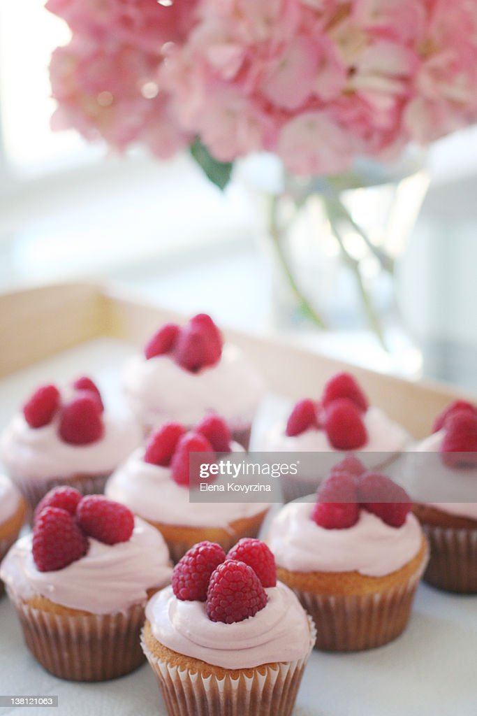 Raspberry cupcakes : Stock Photo