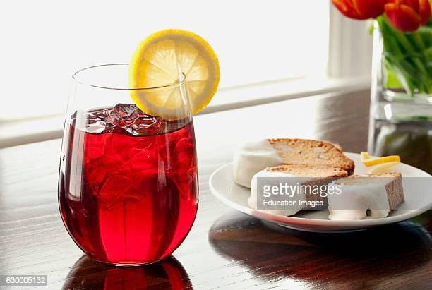 Raspberry iced tea with dipped biscotti English Meadows Inn Kennebunk ME