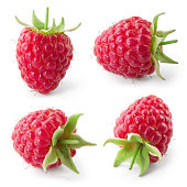 Raspberry isolated on white background. Collection.