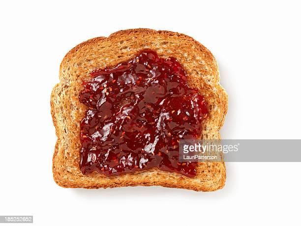 Himbeermarmelade auf Toast
