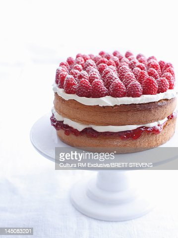 Raspberry layer cake on platter : Stock Photo
