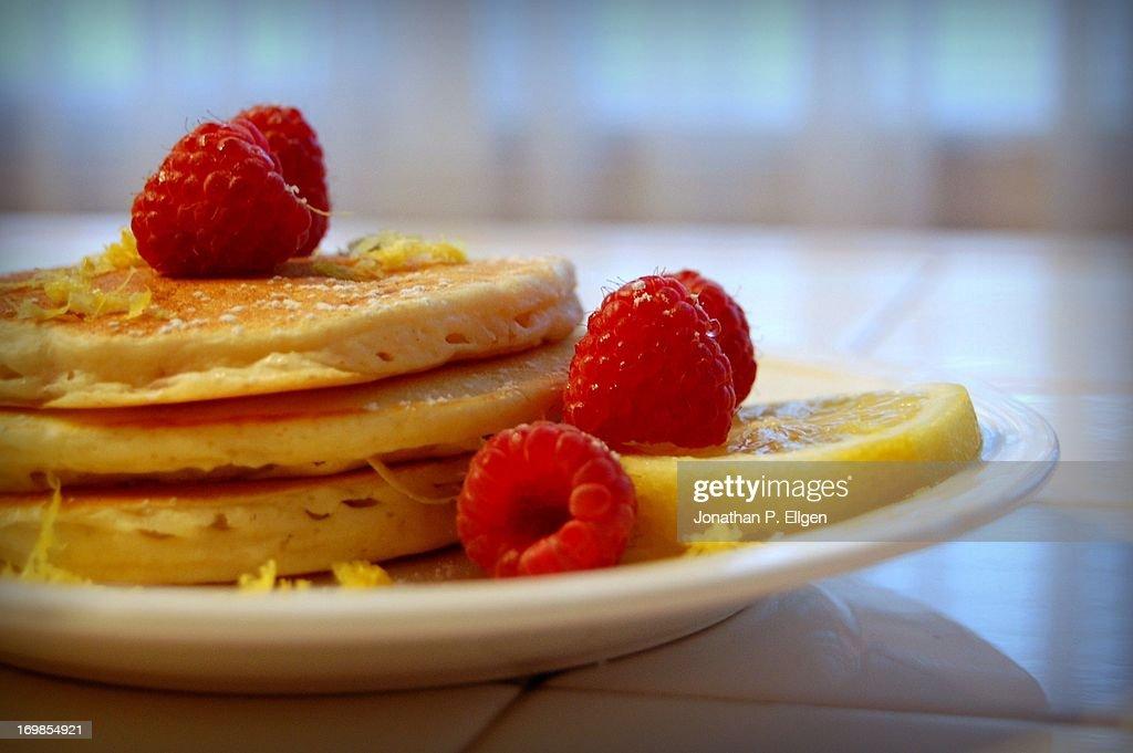 Raspberry Lemon Pancakes : Stock Photo