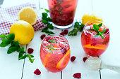 fresh organic raspberry lemonade