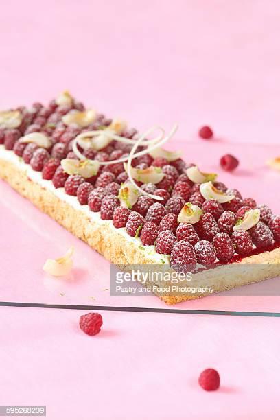 Raspberry lychee lime cake