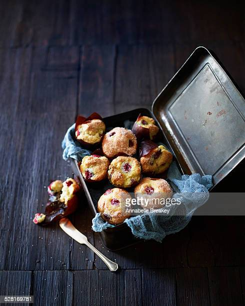 Raspberry Muffins in Vintage Tin